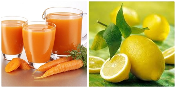 Cà rốt và chanh cũng là cách trị mụn từ thiên nhiên phổ biến hiện nay