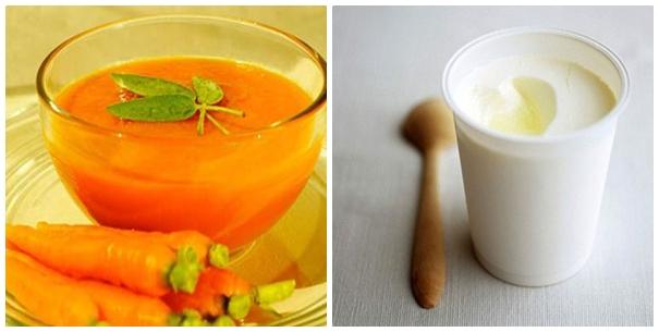 Mẹo trị mụn tại nhà bằng cà rốt và sữa chua