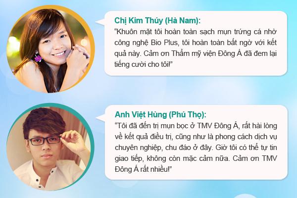 Ý kiến của khách hàng về việc điều trị mụn tại TMV Đông Á