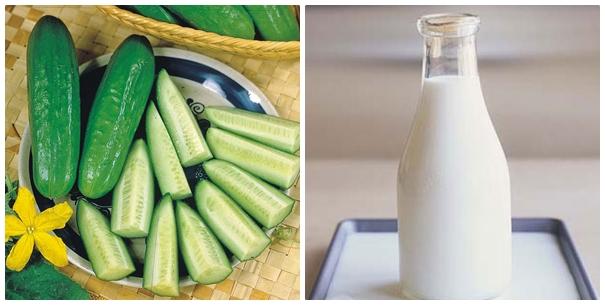 Mẹo trị mụn tại nhà hiệu quả bằng dưa chuột và sữa tươi